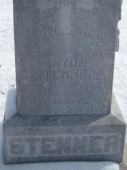 Anton Stenner Killed by Indians at Ludell Kan. Oct. 1, 1878